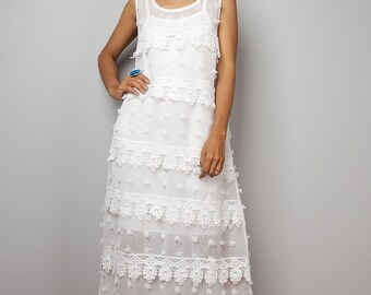 White Dress / Bohemian Lace Dress / White lace halter dress : Bitter Sweet Collection No.2