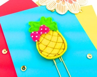 Aloha Pineapple Planner Paper Clip Feltie | Bookmark Journal Marker | Novelty Paper Clips - Party Favor ideas - Tropical Fruit Pineapple