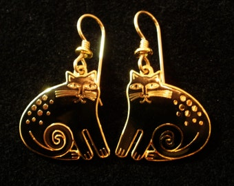 "LAUREL BURCH Black ""Keshire Cat"" Dangle Earrings"