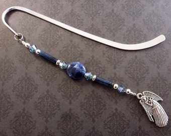 Blue Sodalite Beaded Bookmark with Swarovski Crystal, Angel Charm, Christian Bookmarker