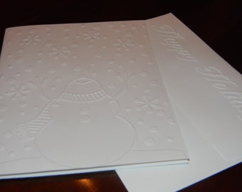 White Snowman Embossed Holidays Cards - Set of 10