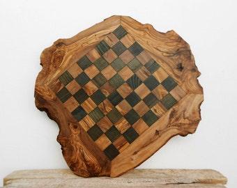 Grandpa Gift, Custom Olive Wood Chess Board, Wooden Chess Set Game, Dad gift, Birthday Gift