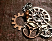 CLEARANCE: Wooden/ Antiqued Copper Gears Pendant