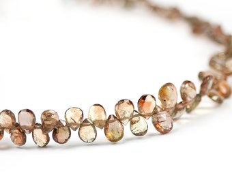 Andalusite Faceted Pear Briolette 4 Brown Olive Pink Sheen Semi Precious Gemstone
