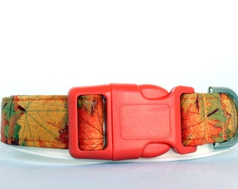 Handmade Cotton Dog Collar - Sparkly Autumn Leaves