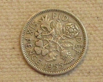 6 Pence Wedding Gift : Great Britain sixpence, 1955, Wedding 6 pence, world coin of the mid ...