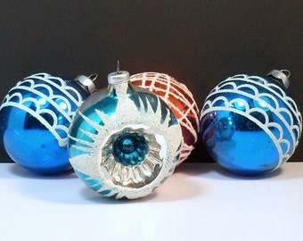 Christmas 4 Glass Ornaments Shiny Brite Indent Blue Red Vintage 1950s