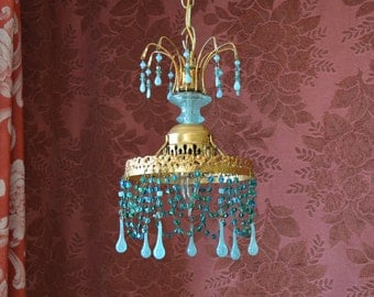 "Chandelier, Beaded Crystal, Aqua Blue and Gold Gilt, 7""w. x 12"" h."