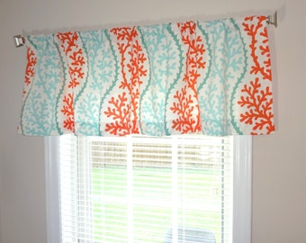 Curtain Valance Topper Window Treatment 52x15 Coral Stripe Orange Turquoise Valance Beach Nautical Home Decor