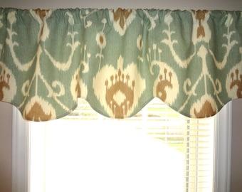 Seafoam Green Ikat Print Scalloped Curtain Valance Topper Window Treatment 52x15  Valance