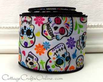 "Halloween Wired Ribbon 2 1/2"", Patterned Skulls, Multi-color Flowers - TEN YARD ROLL -  ""Day of the Dead"" Wire Edged Ribbon"