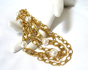 """1970's Pearl Multi Chain Necklace, Faux White Pearls, 20"""" Chain, Multiple Chains, Gold Tone, Summer Casual, Wedding, Gift Idea, Excellent"""