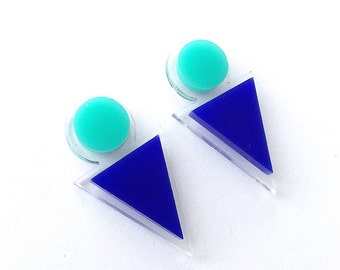 Back Me Up Studs - Laser Cut Acrylic Earrings - Ocean - Each To Own
