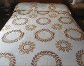 "Vintage Embroidered Quilt Top Summer Quilt Gold Brown on White 90"" x 98"" Never Used"