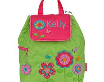 Personalized Girls Backpack or Baby Diaper Bag Stephen Joseph Quilted Flower theme