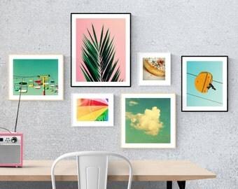 art prints // dorm decor // gallery wall set // happy bright // pink palm blue sky beach umbrella - set of modern photography pop prints set