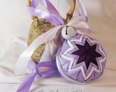 CLEARANCE Hanging Quilted Ornament Ball Purple Lavender White Silver Decoration
