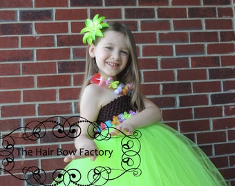 The Hair Bow Factory Hawaiian Hula Girl Luau Halloween Costume Tutu Dress Size 12 Months to 12