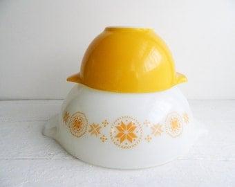 Vintage Pyrex Cinderella Mixing Bowls - Yellow Orange