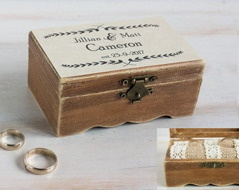 Wedding Ring Box Personalized Ring Bearer Box Rustic Ring Box Еngagement Ring Box Wedding Ring Holder Custom Ring Box Proposal Wedding Box