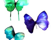 """butterfly trio purple turquoise, green and white 14 x 11"""" original watercolour painting"""