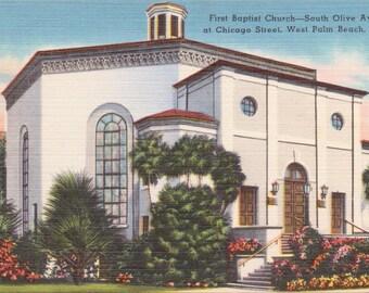 Palm Beach, Florida, First Baptist Church, South Olive Avenue, Chicago Street - Linen Postcard - Unused (M)