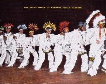 Koshare Indian Dancers, The Ghost Dance - Linen Postcard - Unused (WWW)
