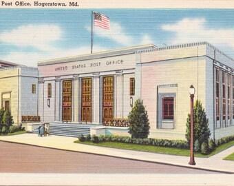Hagerstown, Maryland, Post Office - Linen Postcard - Unused (TT)