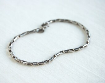 SALE Vintage Chain Bracelet Size 7 .5 Italian Sterling Silver Everyday Jewelry Gift for Her