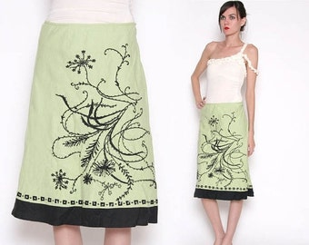 ON SALE Vintage 90s Green A line Skirt / Abstract Floral / S M