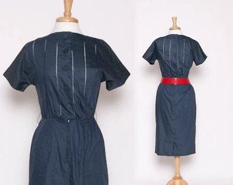 Vintage 40s 50s House Wife Dress / Wiggle Dress / Rockabilly / S M