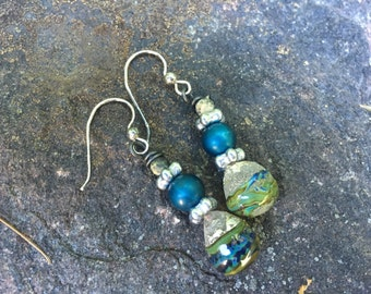 Rustic Blue, Green, and Silver Artisan Handmade Earrings