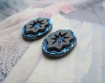 Czech 18x13mm Black And Sapphire Scarabe Intaglio Cabs 2Pcs.