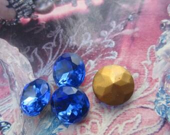 Vintage Czech Sapphire 60SS Doublet Glass Gems 4Pcs.
