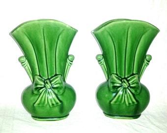 Vintage Shawnee Art Pottery Vase Pair #819 USA Bow FLOWER VASE Large Green