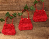 Bag, Small Red Lace Gift Bag with Red Rose Ornaments, Valentine's bag