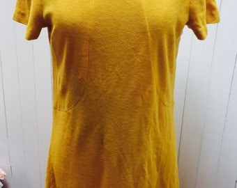 Vintage 1960s Mustard Yellow/Gold Shift Dress - M/L