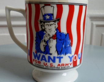 Vintage 1950s US Army Uncle Sam Military Recruiting Footed Ceramic Mugs