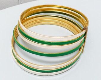 Vintage 1960s Green & White Stacking Bangle Bracelet