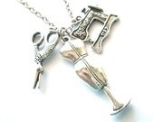 Silver mannequin necklace jewelry singer sewing machine charm scissor, love to sew necklace seamstress