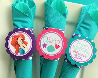 12 Little Mermaid Birthday Party Paper Napkin Rings in Teal, Purple and Hot Pink