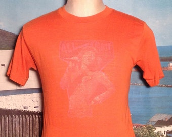 Beautifully worn-out 1970's Mick Jagger t-shirt, soft & thin, fits like a medium