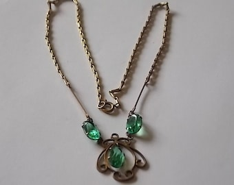 Vintage Antique Chain Green Glass Necklace- GORGEOUS