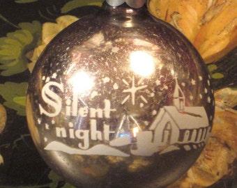 Vintage Stencil Glass Ball Ornament