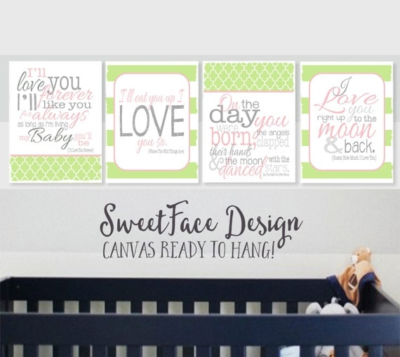 CANVAS Set Of 4 Girls Story Book Quotes. I'll By