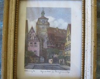 Vintage Rothenburg Germany Small Framed Original Art Print