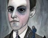 H.P. Lovecraft, Portrait Painting, Literary Art, (11x14) Illustration Portrait, Cthulhu Art, Victorian Gothic, Steampunk Art, Library Decor