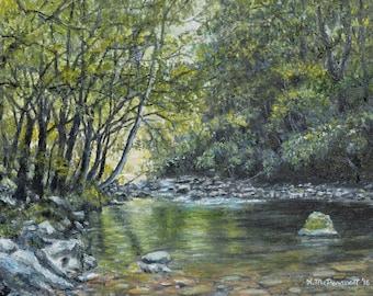 Smokey Mountain Stream (C) 2016 by K. McDermott - oil on 11 X 14 inch canvas