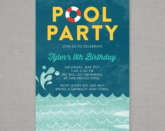 Splish Splash Pool Party Birthday Invitation