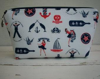 Makeup Bag Cosmetic Bag Pinup Sailors Anchors Ready To Ship Enter Coupon Code SALE50 and Save 50%